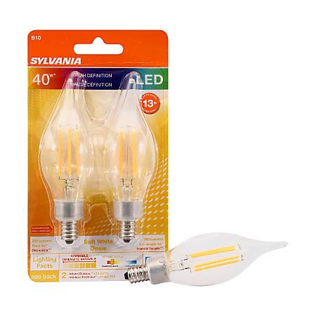 Sylvania LEDvance B10 Dimmable 320 Lumens LED Light Bulbs, 4 Watt, 2700 Kelvin/Soft White, 2 Bulbs Per Pack, Case Of 12 Packs