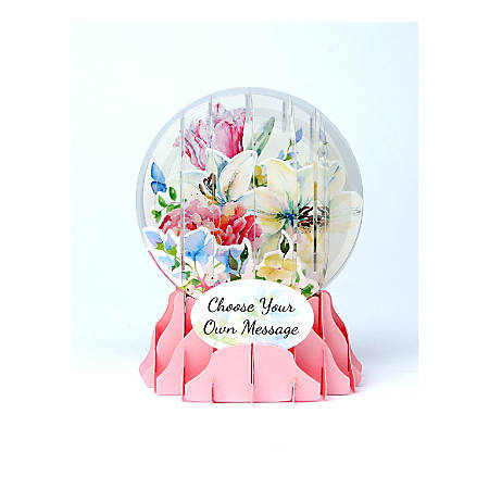 "Up With Paper Everyday Pop-Up Greeting Card, Snow Globe, 5"" x 3-3/4"", Watercolor Bouquet"
