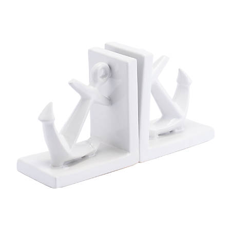 """Zuo Modern Anchors Bookends, 6 5/16""""H x 12 1/4""""W x 3 1/2""""D, White, Set Of 2 Bookends"""