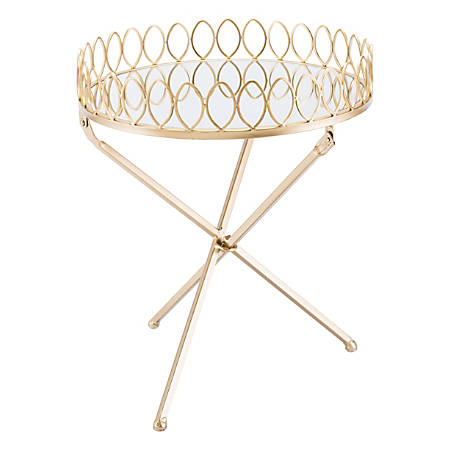 Zuo Modern Tray Table, Round, Mirror/Gold