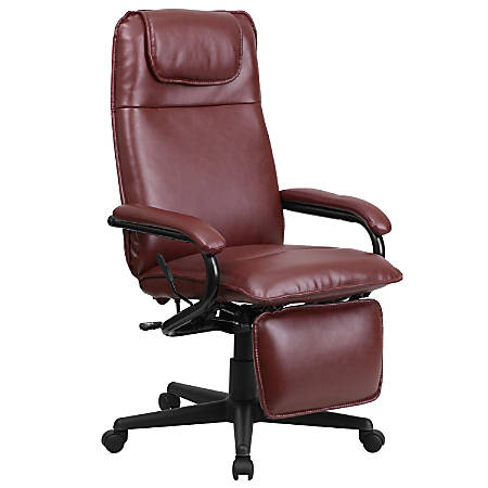 Flash Furniture Leather High-Back Reclining Swivel Chair, Burgundy/Black
