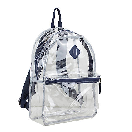 Eastsport Clear PVC Backpack, Navy With Diamond Tab