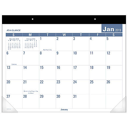 """AT-A-GLANCE® Easy-To-Read Monthly Desk Pad, 21 3/4"""" x 17"""", January to December 2019"""