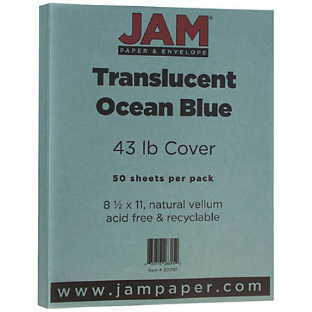"""JAM Paper® Cover Card Stock, 8 1/2"""" x 11"""", 43 Lb, Translucent Ocean Blue, Pack Of 50 Sheets"""