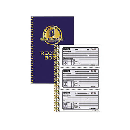 """Rediform Gold Standard Receipt Book - 225 Sheet(s) - Wire Bound - 2 Part - Carbonless Copy - 5 1/2"""" x 8 1/2"""" Sheet Size - Assorted Sheet(s) - Red Print Color - Blue Cover - 1 Each"""