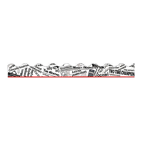 """TREND Terrific Trimmer® Borders, 2 1/4"""" x 39"""", In The News!, Pre-K - Grade 12, Pack Of 12"""