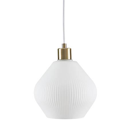 "Southern Enterprises Maitland Pendant Lamp, 8-1/2""H, White Shade/Antique Bronze Base"