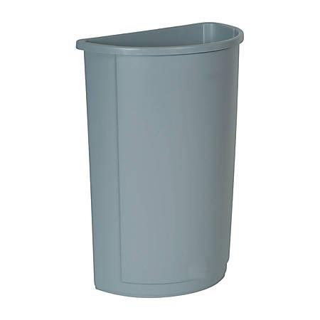 "Rubbermaid® Half-Round Wastebaskets, 21 Gallons, 28 5/8"" x 12"", Gray"