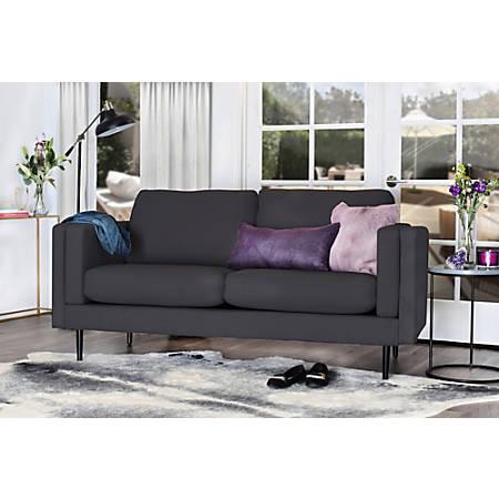 Elle Décor Simone Double-Track Arm Sofa, Onyx/Espresso