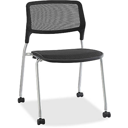 Lorell® Armless Stackable Guest Chair, Mesh, Black, Set Of 2, Casters and Glides