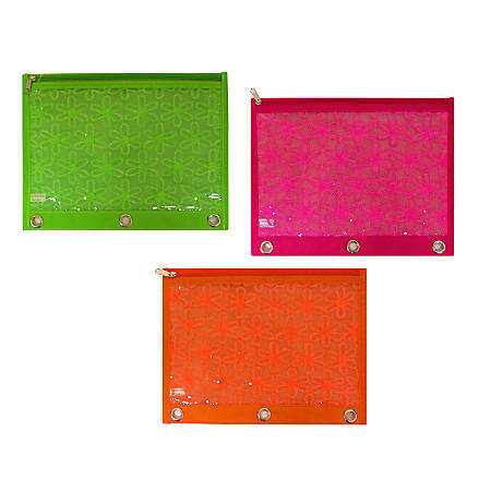 """Inkology Mod Daisy Binder Pencil Pouches, 10"""" x 7-1/2"""", Assorted Colors, Pack Of 12 Pouches"""