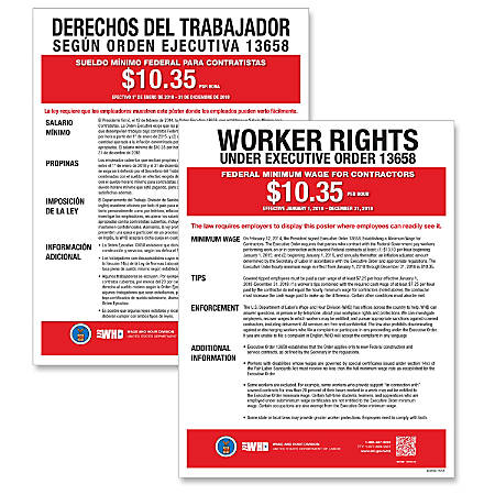 "ComplyRight Federal Contractor Minimum Wage Poster, Bilingual, 11"" x 17"""