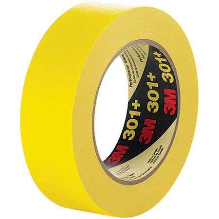 "3M™ 301+ Masking Tape, 3"" Core, 0.75"" x 180', Yellow, Case Of 48"