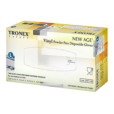 Tronex New Age Disposable Powder-Free Vinyl Gloves, Large, Natural, Pack Of 100 Gloves
