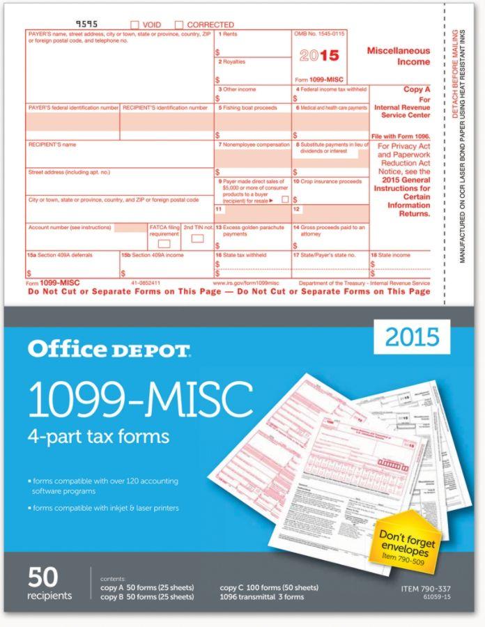 Office Depot Brand 1099 Misc Inkjetlaser Tax Forms 4 Part 8 12 X 11
