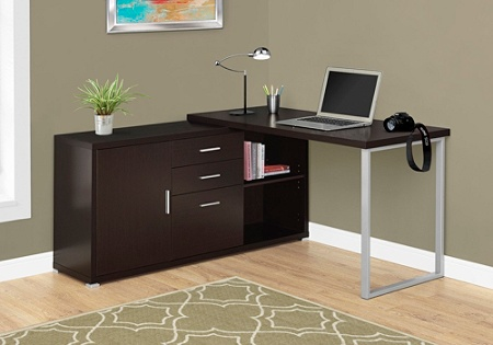 Monarch Specialties L Shaped Computer Desk With Cabinet Cappuccino By Office Depot Officemax