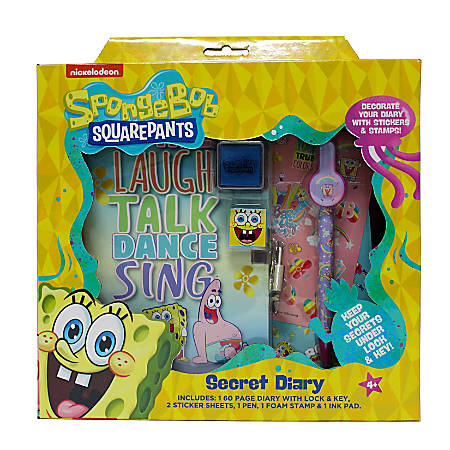 Inkology 6-Piece Diary Sets, SpongeBob Squarepants, 120 Pages (60 Sheets), Pack Of 6 Sets