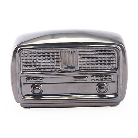 "Zuo Modern Antique Radio Sculpture, 4 5/16""H x 6 1/2""W x 2 7/16""D, Metallic Gray"