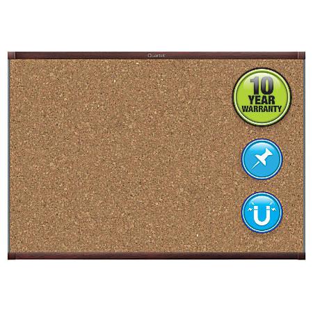 "Quartet® Prestige® 2 Magnetic Cork Bulletin Board, 36"" x 24"", Mahogany Finish Aluminum Frame"