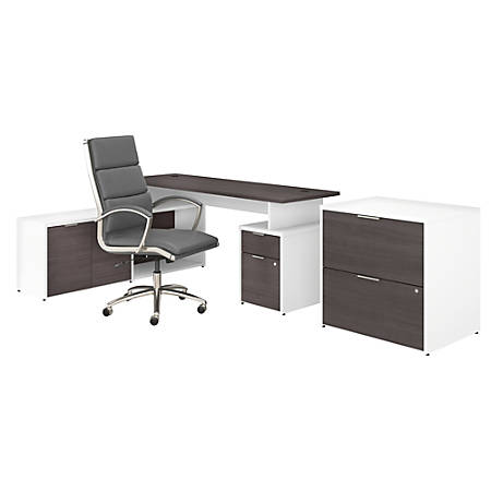 """Bush Business Furniture Jamestown 72""""W L-Shaped Desk With Lateral File Cabinet And High-Back Office Chair, Storm Gray/White, Premium Installation"""