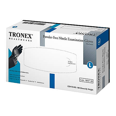 Tronex Fingertip-Textured Powder-Free Nitrile Exam Gloves, Large, Black, Pack Of 100 Gloves