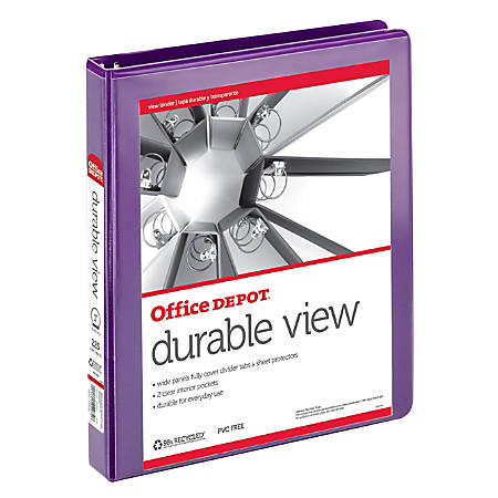 "Office Depot® Brand Durable Round-Ring View Binder, 1"", Purple"