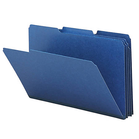 Smead® 1/3-Cut Color Pressboard Tab Folders, Legal Size, 50% Recycled, Dark Blue, Box Of 25
