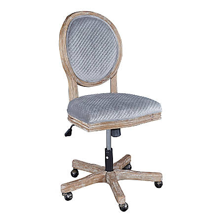 Linon Emma Sequin Fabric Mid-Back Chair, Gray/Rustic Washed