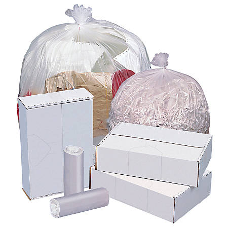 """Highmark™ High-Density Can Liners, 16 Mic, 33 Gallons, 33"""" x 40"""", Natural, Box Of 250"""