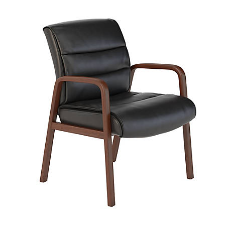 Bush Business Furniture Soft Sense Leather Guest Chair, Black/Cherry, Premium Installation