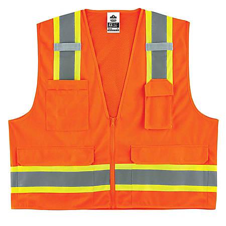Ergodyne GloWear Safety Vest, 2-Tone Surveyors, Type-R Class 2, Large/X-Large, Orange, 8248Z