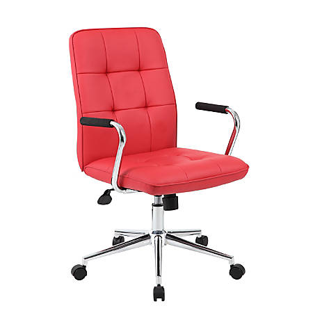 Boss® Modern Mid-Back Task Chair, Red/Black