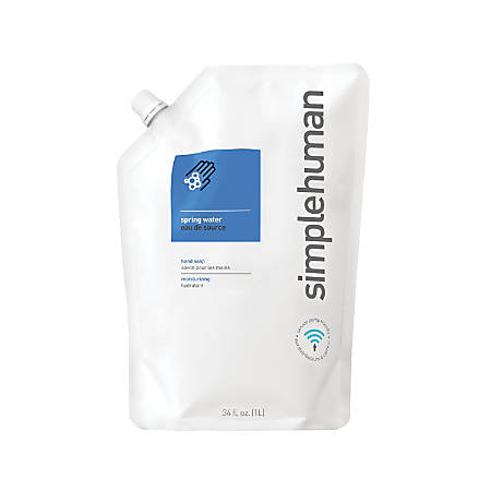 simplehuman Moisturizing Liquid Hand Soap Refill Pouches, Spring Water, 34 Fl Oz, Pack Of 6