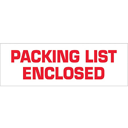 "Tape Logic® Packing List Enclosed Preprinted Carton Sealing Tape, 3"" Core, 2"" x 55 Yd., Red/White, Case Of 18"