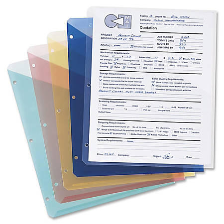 """Smead® Inndura 3-Hole Poly Slash Jackets, 9 1/4"""" x 11 1/4"""", Assorted Colors, Pack Of 5"""