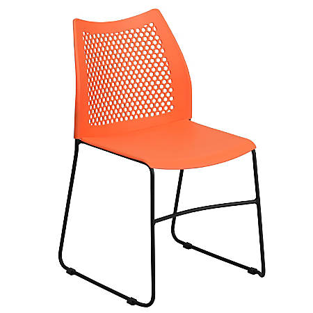 Flash Furniture HERCULES Series Sled-Base Stack Chair With Air-Vent Back, Orange/Black