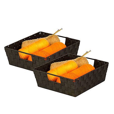 "Honey-Can-Do Woven Shelf Trays, 5""H x 15""W x 13""D, Espresso, Pack Of 2"