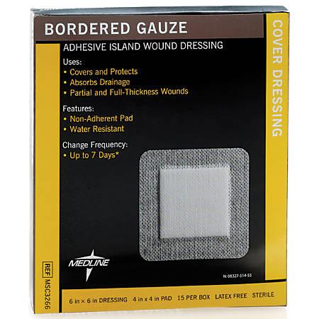 "Medline Sterile Border Gauze Pads, 6"" x 6"", White, Box Of 15 Pads"