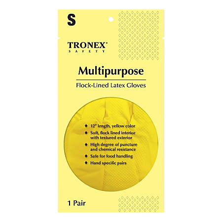 Tronex Multipurpose Flock-Lined Latex Gloves, Small, Yellow, Pack Of 144 Gloves