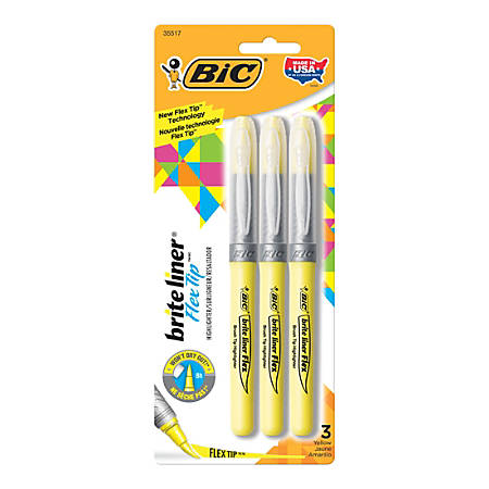 BIC® Brite Liner® Flex Tip Highlighters, Yellow, Pack Of 3