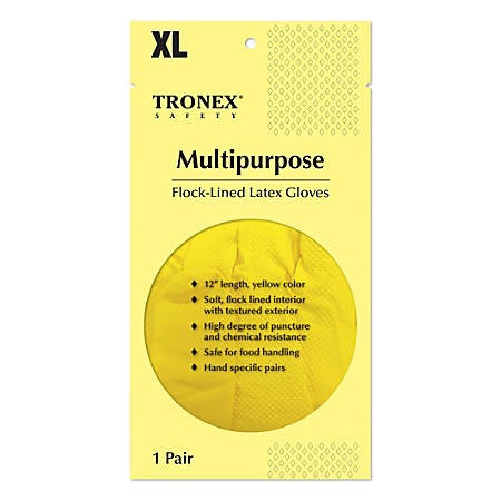Tronex Multipurpose Flock-Lined Latex Gloves, X-Large, Yellow, Pack Of 144 Gloves