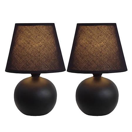 "Simple Designs Mini Globe Table Lamps, 8 7/8""H, Black Shade/Black Base, Set Of 2"
