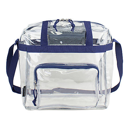"""Eastsport Clear Stadium Tote Bag, 12""""H x 12""""W x 6""""D, Navy"""
