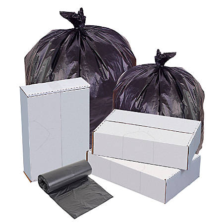 """Highmark™ High-Density Can Liners, 22 Mic, 40 - 45 Gallons, 40"""" x 48"""", Black, Box Of 150"""
