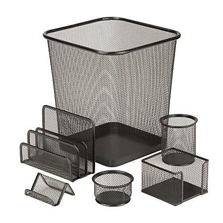 Honey-Can-Do 6-Piece Mesh Desk Organizer Set, Black
