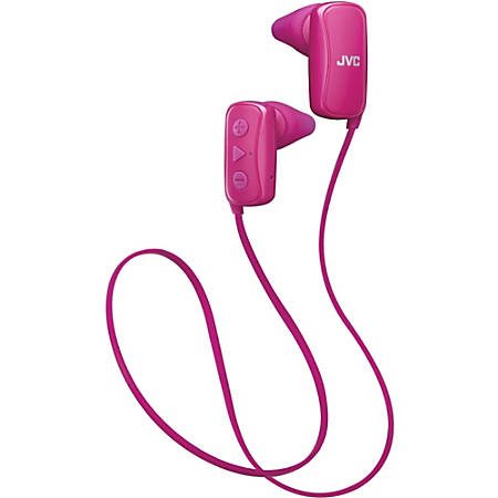 JVC Gumy Earset - Stereo - Wireless - Bluetooth - 20 Hz - 20 kHz - Behind-the-neck - Binaural - In-ear - Noise Canceling - Pink