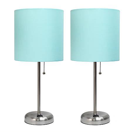 "LimeLights Stick Desktop Lamps With Charging Outlets, 19-1/2"", Aqua Shade/Brushed Nickel Base, Set Of 2 Lamps"