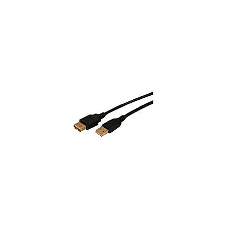 Comprehensive Standard USB Cable - 25 ft USB Data Transfer Cable for Printer, Scanner, Keyboard, Camera - First End: 1 x Type A Male USB - Second End: 1 x Type A Female USB - Shielding - Black