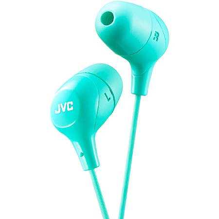 JVC Marshmallow HA-FX38G Earphone - Stereo - Green - Wired - Gold Plated Connector - Earbud - Binaural - In-ear - 3.28 ft Cable