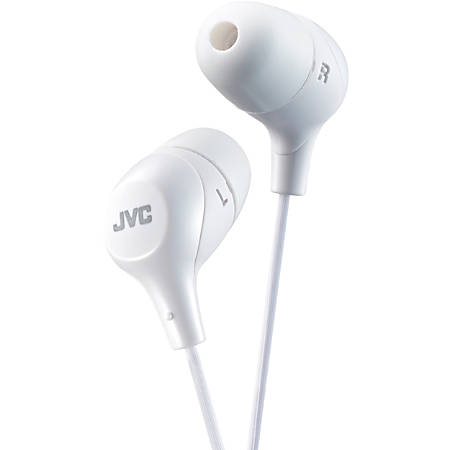 JVC Marshmallow HA-FX38W Earphone - Stereo - White - Wired - Gold Plated Connector - Earbud - Binaural - In-ear - 3.30 ft Cable